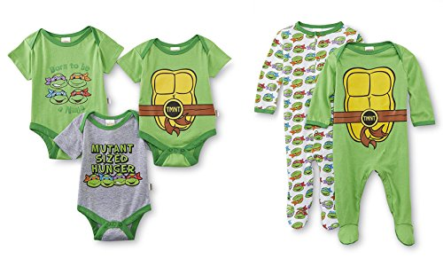 Nickelodeon Teenage Mutant Ninja Turtles 5 Pack Bodysuits & Coveralls (0-3 Months) -