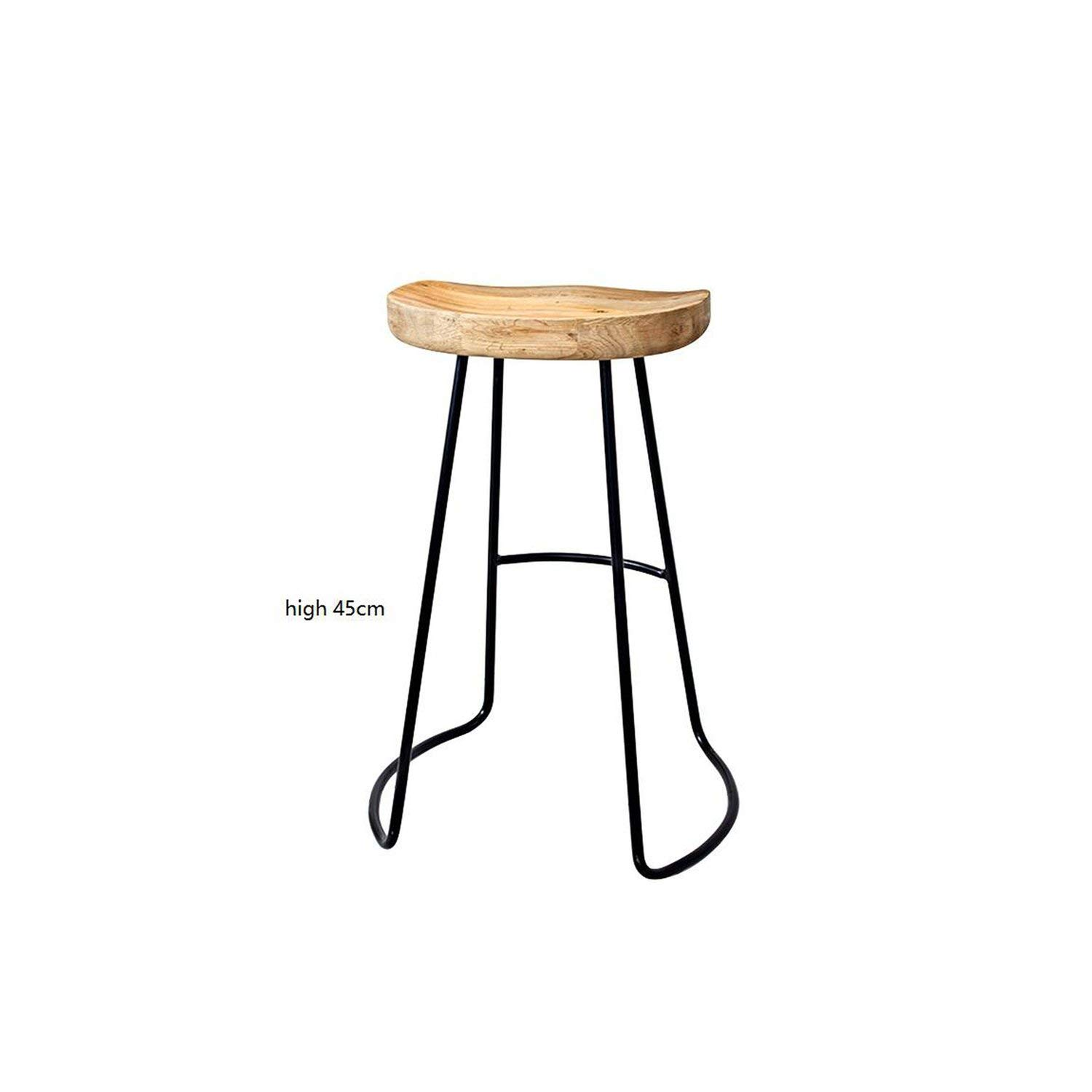 High 45cm tthappy76 Modern Simple Iron Foot Stool Surface Solid Wood Bar Stool Home High Chair Coffee Shop Cold Drink Shop Bar Stool,High 45Cm