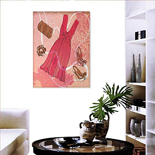 Heels Dresses Print On Canvas Wall Decor Spring Inspired Floral Abstract Backdrop Pink Dress Shoes Bracelet Wall Paintings 32