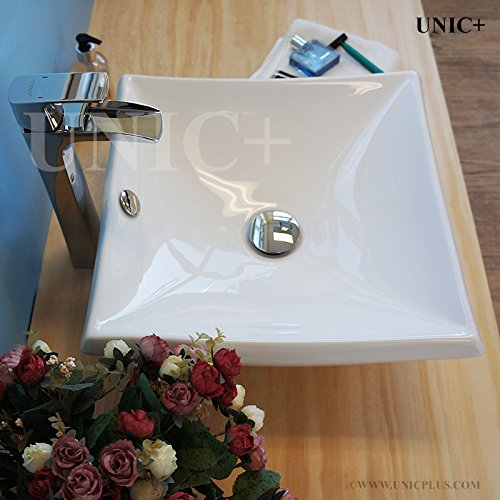 UNICPLUS BVC007 Bathroom Sink Square Bathroom Sink White Ceramic Square Vessel Sink