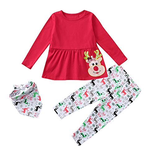 KONFA Teen Toddler Baby Girls Christmas Outfits Clothes,Cartoon