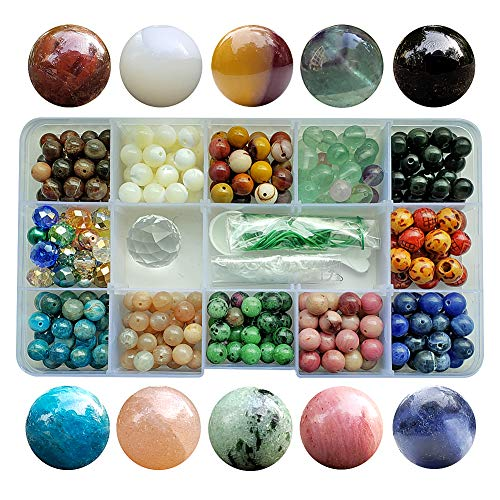 Chengmu 8mm Stone Beads Kit for Jewelry Making 230pcs Natural Gemstone Epidote Fluorite Sunstone Obsidian Assorted Color Round Loose Beads Set for Bracelet Necklace with Accessories Tools Color ()