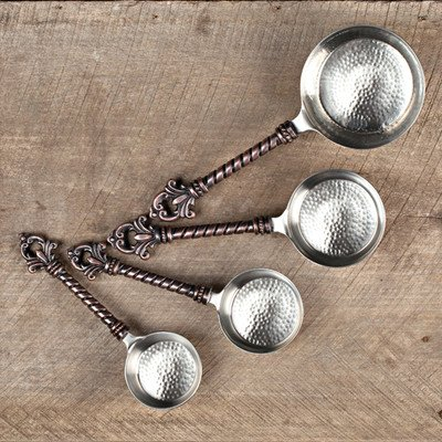 4 Pieces Stainless Steel and Lead-Free Brass Measuring Spoon Set by GG Collection