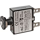"BLUE SEA SYSTEMS BS-7053 / Circuit Breaker, push-to-reset only, panel mount, DC 7 Amp, MFG# 7053, Non-switchable, thermal, 32 VDC Max. 3/8"" diameter panel opening. 1.4""H x .57""W x 2.3""D. 1/4"" blade quick disconnect terminals."