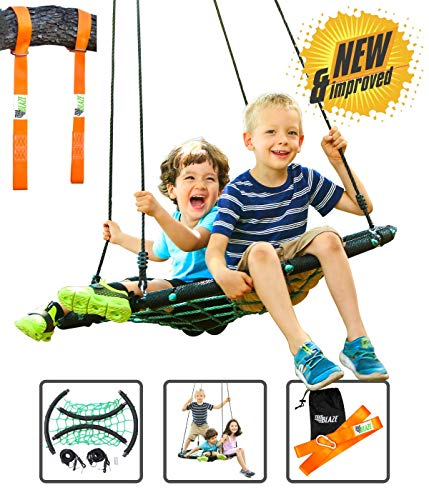 Trailblaze Saucer Swing for Kids - Tree Swing Hanging Kit 2 Straps - Holds 650 lbs Extra Strong Web Disk Swing for Tree - Kids Round Tree Swings for Outside Easy to Hang