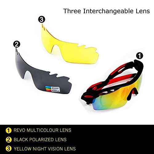 77049d93ca Ewin E01 Polarized Sports Sunglasses with 3 Interchangeable Lenses for Men  Women Golf Baseball Volleyball Fishing Cycling Driving Running Glasses(Black Red)  ...