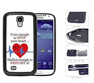 linJUN FENGRN Nurse Red Heart with Blue EKG Line & Quote [Samsung Galaxy S4 I9500] 2-piece Dual Layer High Impact Black Silicone Cover