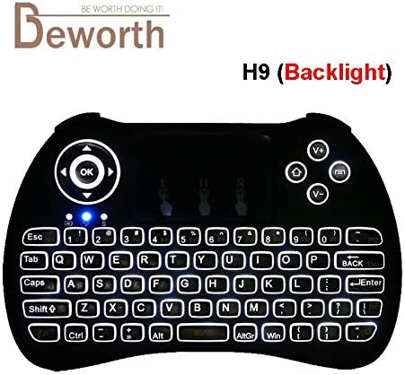 Color: EN H9 with Backlit Calvas H9 Mini Wireless Keyboard Backlit 2.4GHz Air Mouse with Backlight Remote Control Touchpad for Android TV Box Google Smart TV