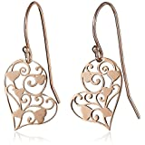 14k Rose Gold Plated Sterling Silver Heart Filigree Earrings