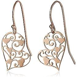 Dangle earrings Rose Gold Plated Heart Ear Tassel Chain