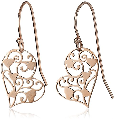 Silver Filigree Heart (14k Rose Gold Plated Sterling Silver Filigree Heart Dangle Earrings)