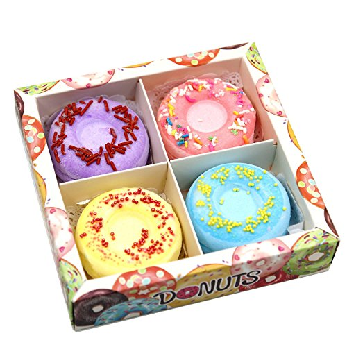 Price comparison product image Bath Bombs Yartar Donut Bath Bombs 4 Handmade Fizzies Spa Kit Natural Essential Oils for Moisturizing Dry Skin Relaxation Fun Gift Set Ideas for All Ages