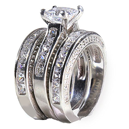 3.2ct Princess Cut 925 Solid Sterling Silver Bridal Engagement Wedding 3 Piece Ring Set 9