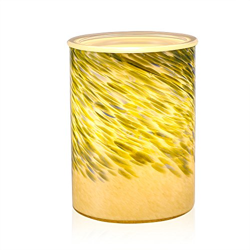 COOSA Bamboo Leaves Pattern Glass Electric Oil Warmer or Wax Tart Burner Night Light Aroma Decorative Lamp for Gifts & Decor (Green)