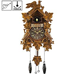 Kintrot Black Forest Cuckoo Clock Handcrafted Wood Quartz Wall Clock Pendulum Home Decor