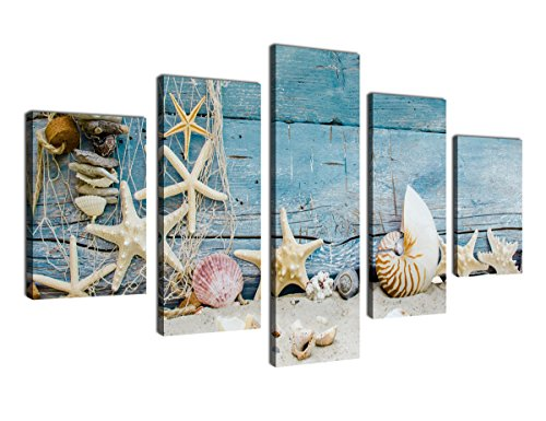 Canvas Wall Art Beach Nature Picture Canvas Artwork 5 Piece Large Canvas Art Shell Starfish Sea Snails Fishing Net on Vintage Blue Boat Board for Home Office Kitchen Wall Decor Framed Ready to Hang