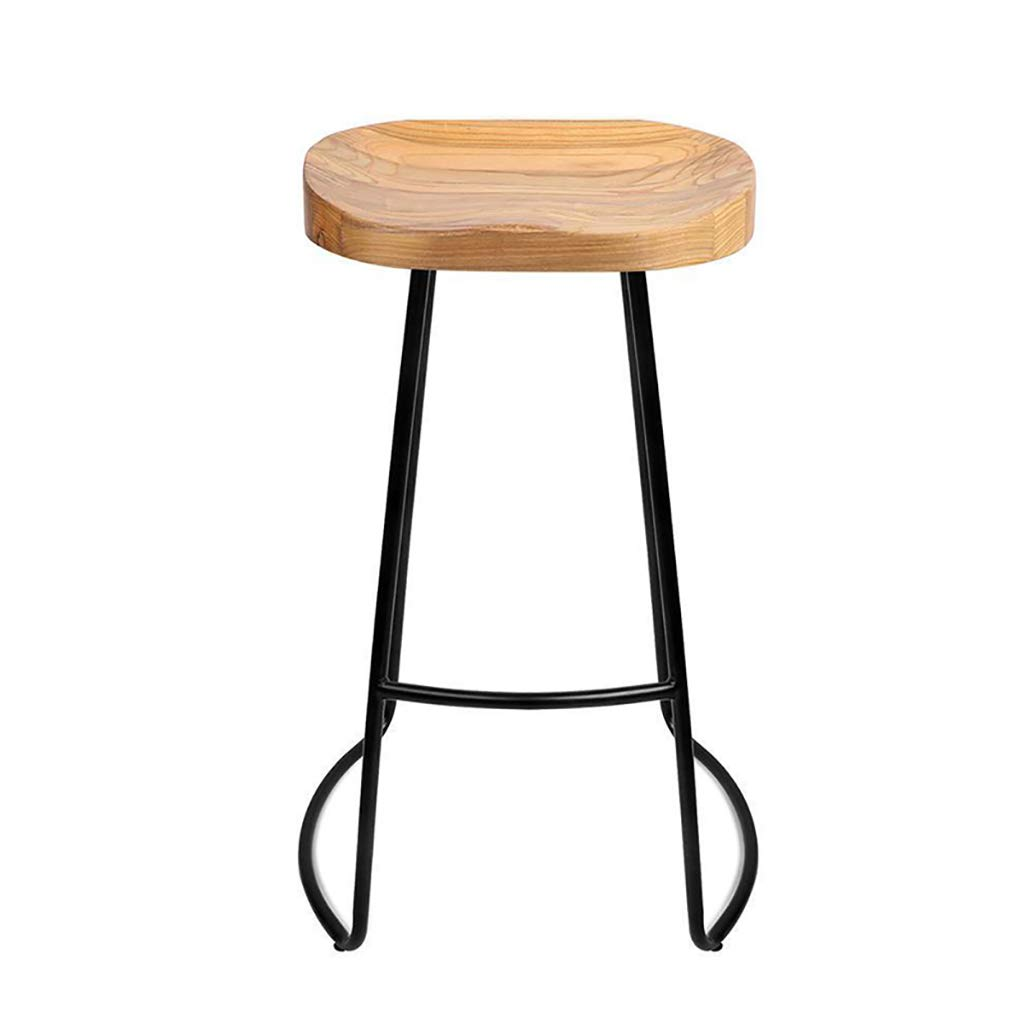 Beige 65CM QianLiJiaJi Bar Stool-Solid Wood Bar Stool Iron High Chair Bar Stool Cafes Restaurants 45cm, 65cm, 75cm Modern bar Chair (color   Beige, Size   65CM)
