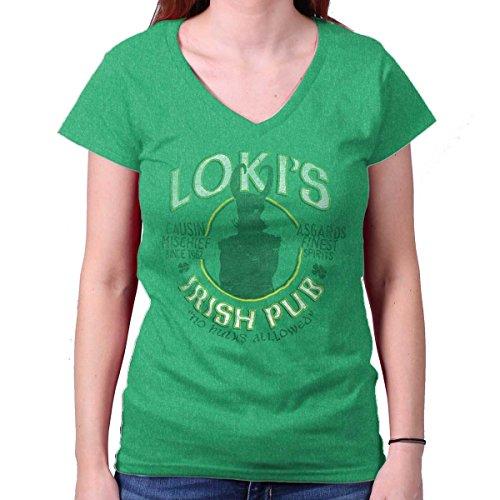 Villains Irish Pub Funny Comic Book Nerd Junior Fit V-Neck T Shirt -
