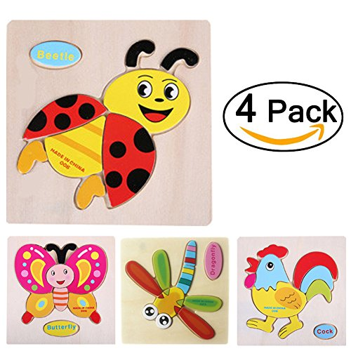 Insects Wooden Chunky Puzzle (4 pcs 3D Wooden Puzzles Jigsaw Educational Toys Puzzle for Toddlers Adult Kids 1-5 years(Pack of 4)-Transportation-Truck Ship Plane Balloon (Insects Set))