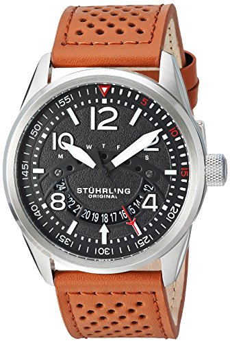 Stührling Original Men's Aviator Stainless Steel Japanese-Quartz Watch with Leather Strap, Brown, 23 (Model: 448.01)