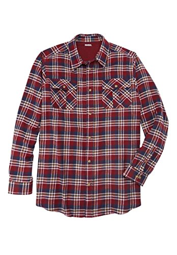 Burgundy Flannel (KingSize Men's Big & Tall Plaid Flannel Shirt, Rich Burgundy Plaid Big-3Xl)