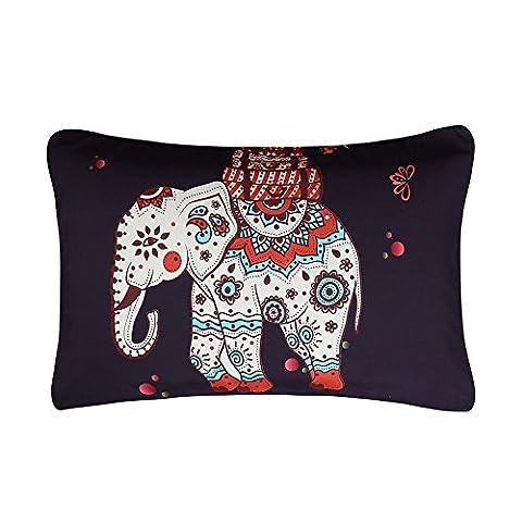Sleepwish Mandala Pillow Case Elephant Tree Ethnic Decorative Pillow Cover Black Pillowcase 20 X 36 Inches (1 Case)