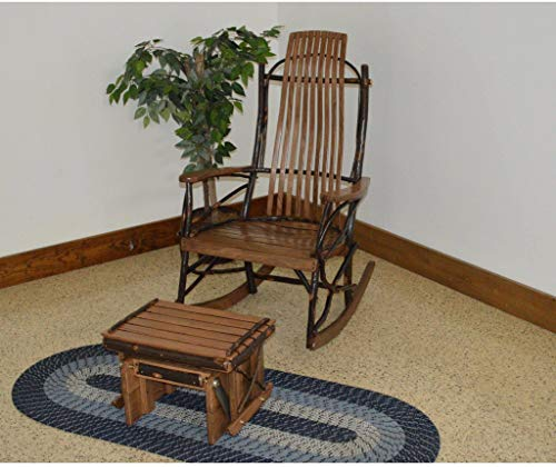 (A & L Furniture Co. Amish Bentwood Hickory 9-Slat Rocking Chair with Gliding Ottoman Set - Ships Free in 5-7 Business Days)