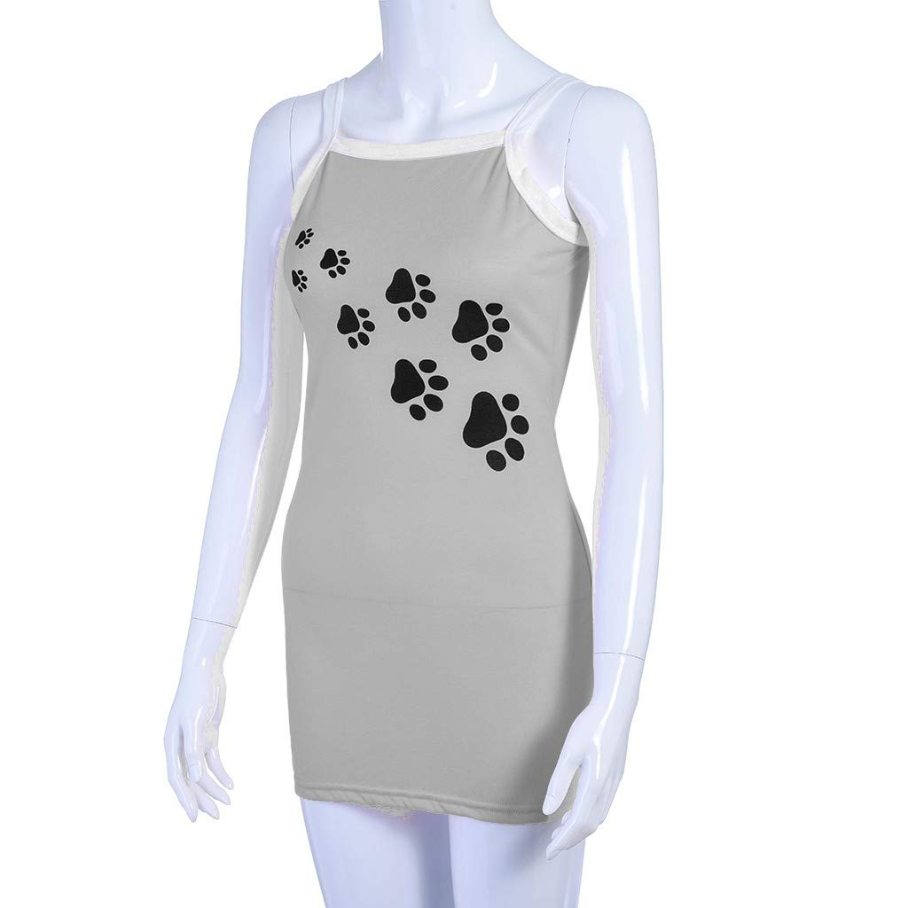 Women Summer Casual Cute Dog Paw Printed Tshirt Dress Spaghetti Strap Beach A-Line Mini Dress(M,Gray-2) by Sinohomie (Image #5)