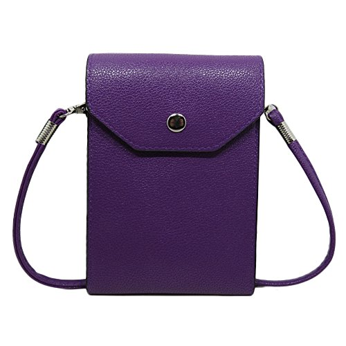 PU Leather 2 Layers Vertical Cellphone Pouch Bag with Shoulder Strap and Magnetic Button for Apple iPhone Samsung Galaxy and Other Smartphone Purple