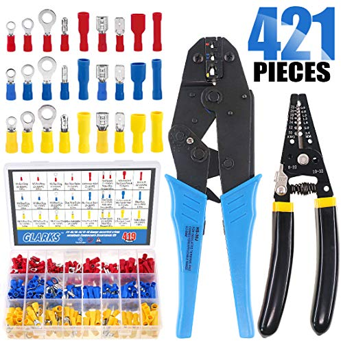 Glarks Wire Terminals Crimping Tool Set, Insulated Wire Terminals Connectors Ratcheting Crimper Tool 22-10AWG with 419Pcs Insulated Butt Bullet Spade Ring Crimp Terminal Connector and a Wire Stripper