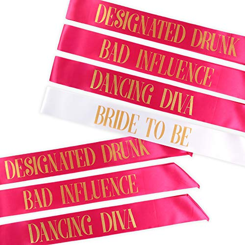 Bachelorette Party Sashes- Bride to Be Sash and Bride Tribe Sashes (Pink, 7 Pack) -
