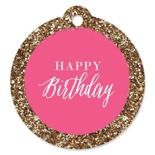 Chic Happy Birthday - Pink and Gold - Birthday Party Favor Gift Tags (Set of ()