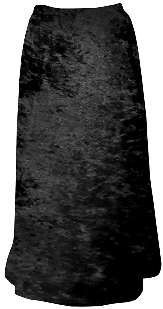 Women's Black Solid Crush Velvet Plus Size Supersize Skirt SK-BLACK-CRUSHVELVET