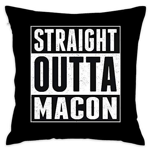 Straight Outta Macon Customized Home Decorative Throw Pillow Case Cushion Cover 18 x 18 Inch Cotton ()