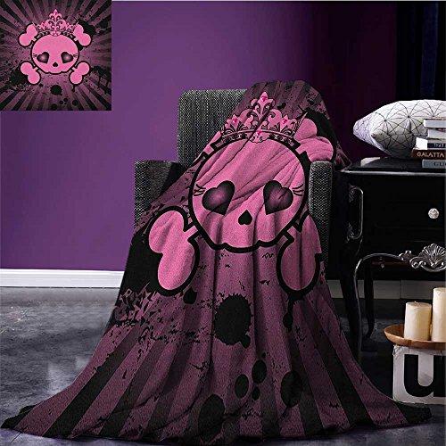 Skull summer blanket Cute Skull Illustration with Crown Dark Grunge Style Teen Spooky Halloween Print Flannel Pink Black size:60