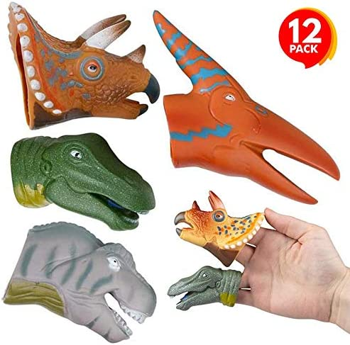 ArtCreativity Assorted Dinosaur Finger Puppets for Kids Pack of 12 Dinosaur Toys for Boys and Girls Dino Birthday Party Favors Goodie Bag and Pinata Fillers Teacher Rewards 4 Cool Designs