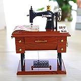 Sunward Music Box, Vintage Mini Sewing Machine Style Plastic Music Box Table Desk Decoration Toy Gift for Kid Children