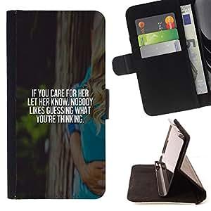 BullDog Case - FOR/HTC Desire 820 / - / care her love vignette poster white text /- Monedero de cuero de la PU Llevar cubierta de la caja con el ID Credit Card Slots Flip funda de cuer