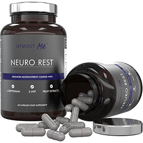 5-HTP, L-Tryptophan, L-Taurin, Kamille, Biotin, Magnesium & Fruchtextrakte | Neuro-Formel - Hoch wirksame natürliche Nahrungsergänzung für Ruhe & Erholung | Nie wieder Schlaftabletten, Sedativa & Medikamente | Erprobte Mischung ohne Nebenwirkungen durch hoch dosiertes 5HTP | 100% Geld-zurück-Garantie (1x Neuro Rest (30-Tages-Vorrat))