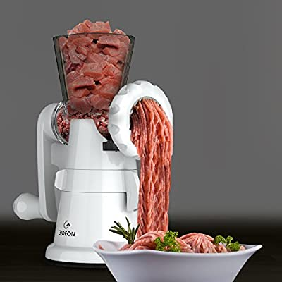 Gideon Hand Crank Manual Meat Grinder with Powerful Suction Base / Heavy Duty with Stainless Steel Blades / Quickly and Effortlessly Grind Meat, Vegetables, Garlic, Fruits, etc.