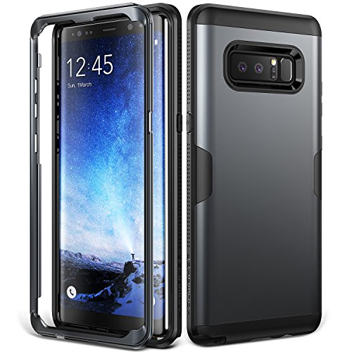 Galaxy Note 8 Case, YOUMAKER Metallic Black Full Body Heavy Duty Protection Shockproof Slim Fit Case Cover for Samsung Galaxy Note 8 (2017 Release) WITHOUT Built-in Screen Protector (Metallic Black) - Note Cover