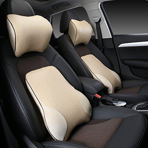 Meiyiu Car Lumbar Back Support Pillow Space Memory Cotton Car Cushion Beige by Meiyiu (Image #2)