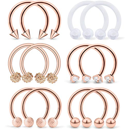 SCERRING 6 Pairs 16G 10mm Stainless Steel Nose Horseshoe Hoop Rings Eyebrow Lip Ear Tragus Cartilage Daith Septum Retainer Body Piercing Jewelry Clear CZ Rose Gold