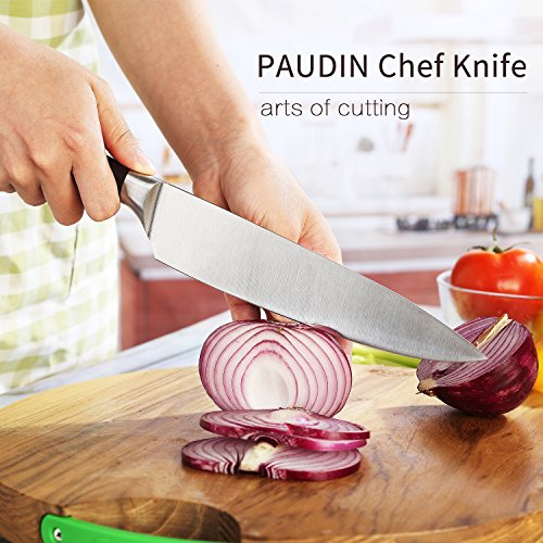 PAUDIN Kitchen Knife, 8 inch Chef Knife N2 German Stainless Steel knife with Sharp Edge and Ergonomic Wood Handle, 5Cr15Mov kitchen knife for Pro & Home Chefs by PAUDIN (Image #2)