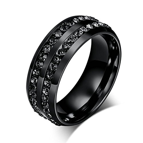 AmDxD Jewelry Stainless Steel Men Engagement Rings Black Wedding Bands Two Linse CZ Cubic Inlaid Size 11