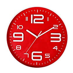 SonYo Indoor Big 3D Number Quartz Silent Non Ticking Wall Clock Quiet Sweep Movement Decorative Battery Operated 10 Inch Red