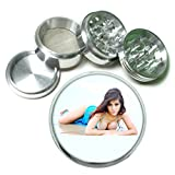 Argentina Pin Up Girls South America S15 Chrome Silver 2.5'' Aluminum Magnetic Metal Herb Grinder 4 Piece Hand Muller Herb & Spice Heavy Duty 63mm