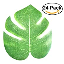 Tinksky 24pcs Artificial Tropical Palm Leaves Simulation Leaf for Hawaiian Luau Party Jungle Beach Theme Party Decorations, 20x18cm