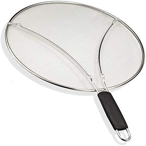 """KITCHENISTIC 13"""" Splatter Screen with Soft Grip TPR Handle"""