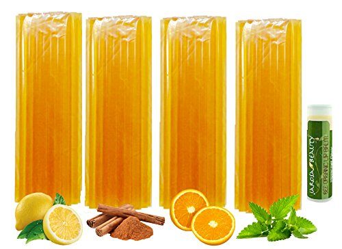 Color Free Flavored Tea Time Honey Sticks All Natural, Gift Set by Jarosa Variety 100 Count (25 ea Flavor) with a Jarosa Bee Organic Lip Balm (Color Free Variety) Lemon, Mint, Orange & Cinnamon